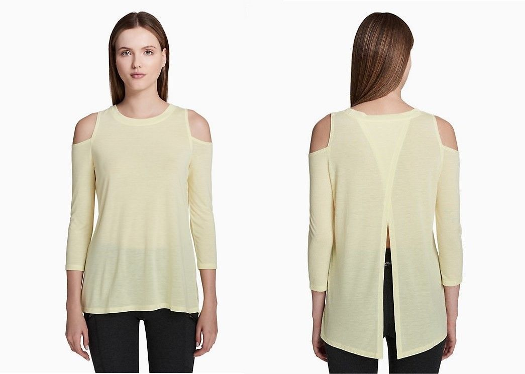 Calvin Klein Performance Cold-Shoulder Tie-Back Top PF8T2828 Grey Citrus Yellow image 4