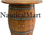 NauticalMart Cabinet Style Wine Barrel Console Table With Teak Wood Table Top
