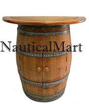 NauticalMart Cabinet Style Wine Barrel Console Table With Teak Wood Tabl... - $860.31