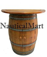 NauticalMart Cabinet Style Wine Barrel Console Table With Teak Wood Table Top - $860.31