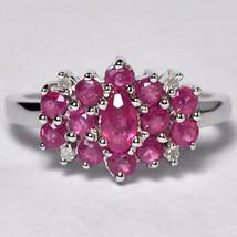 Natural Ruby Diamond Flower Cluster Ring Womens 10K White Gold 1.54 Carat - $399.00