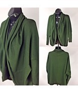 Zara Knit Womens Sz M Green Open Front Cardigan Shrug Kimono Sleeve Care... - $36.28