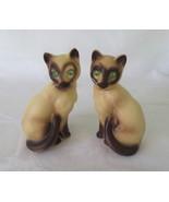 Siamese Cat Shaker Set, Made in Japan, Green Rhinestone Eyes - $16.00