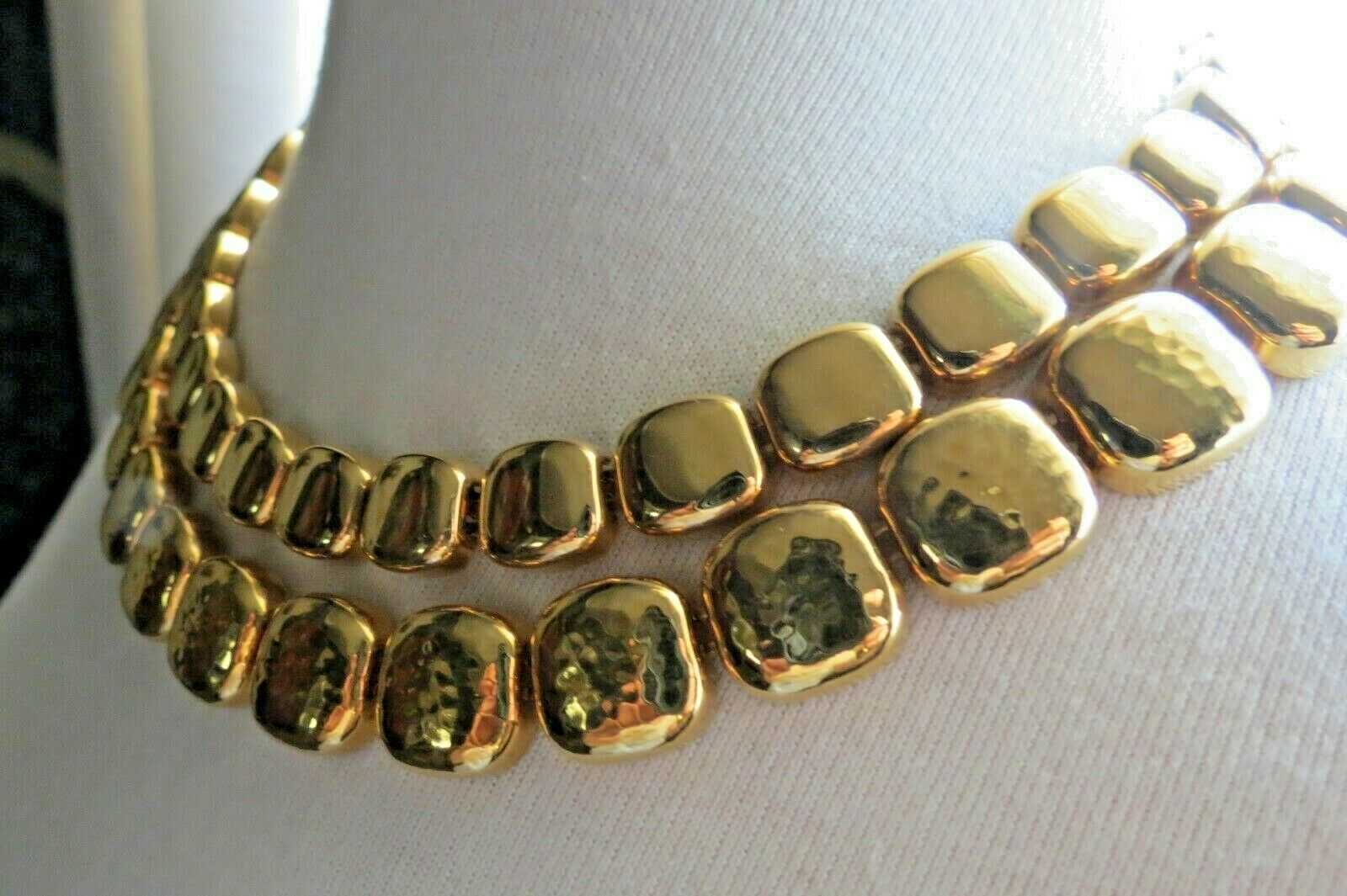 """Monet Necklace Gold Plated Double Links 17"""" Designer Square Hammered NICE image 3"""