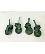 """Lot of 4 Vintage Industrial Medium Metal Castors Wheels 1 3/8"""" #99 - $26.24"""