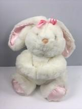 "Vtg 1989 Commonwealth Plush Bunny Pink Bow Gathered Hands 13"" Rabbit - $22.87"