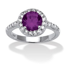 Birthstone and CZ Halo Ring in .925 Silver-February-Simulated Amethyst - $33.82