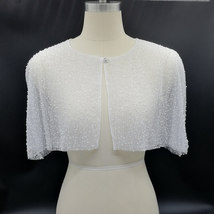 White Lace Wedding Cover White Short Lace Bridal Boleros Cover ups,one button image 2