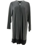 Dennis Basso Colorblock Soft Long-Sleeve Duster Charcoal Black XS NEW A3... - $55.42