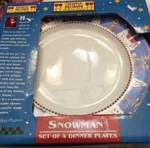"Sakura Debbie Mumm Snowman Set Of 4 Dinner Plate 10 3/4"" New In Box - $39.59"