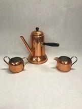 3 pc.Copper Tea Coffee pot Handmade lid wood handle creamer sugar copper... - $35.63