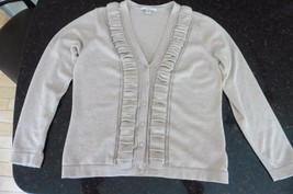 liz claiborne cardigan sweater button up size small ruffle front v-neck ... - $7.11