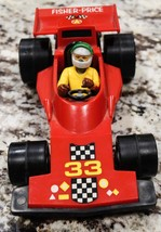 Vintage Fisher Price Toys Plastic Red Race Car NO.33 1975 With Original ... - $25.00