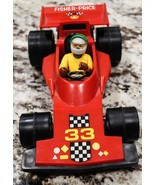 Vintage Fisher Price Toys Plastic Red Race Car NO.33 1975 With Original ... - $23.75