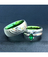 Damascus Rings His and Her Steel & Sterling Silver Green Marquise CZ Rin... - $174.19