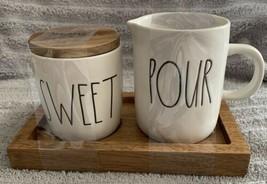 Rae Dunn Farmhouse LL SWEET POUR Creamer Sugar Cellar  Set With Wood Tray - $29.99