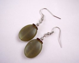 Women's Drop Earrings Forest Green and Silver - $11.25