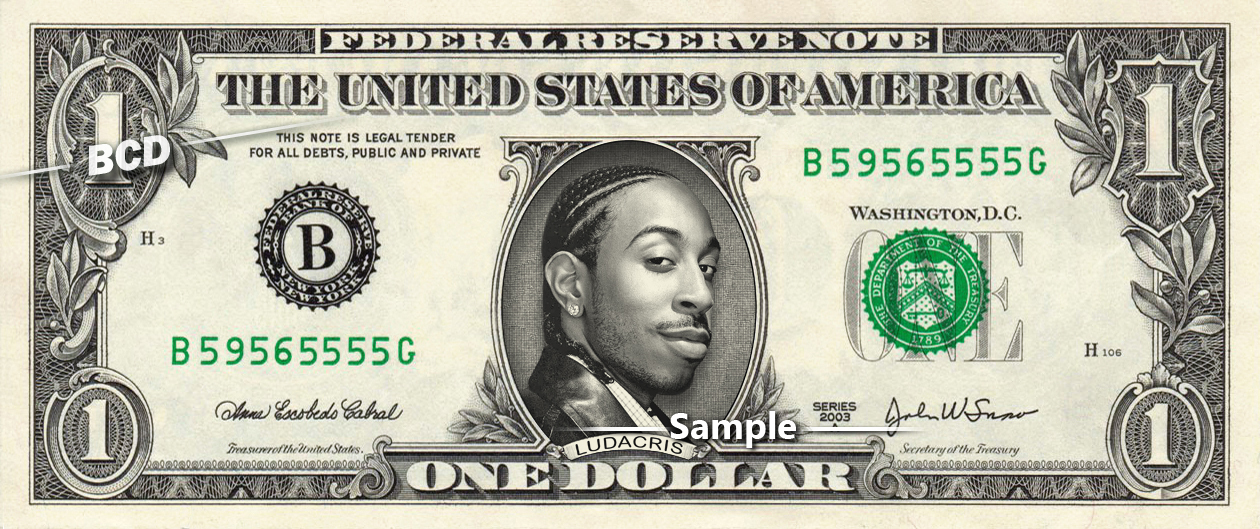 LUDACRIS Rapper on REAL Dollar Bill Cash Money Bank Note Currency Dinero