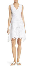 """NWT Women's Theory White Embroidered Linen """"Jemion"""" Fit & Flare Dress Sz 6 - $123.74"""