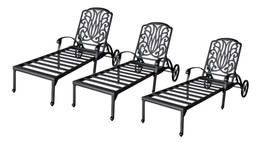 Patio chaise lounge set 3 adjustable outdoor Elisabeth cast aluminum Bronze - $1,678.05