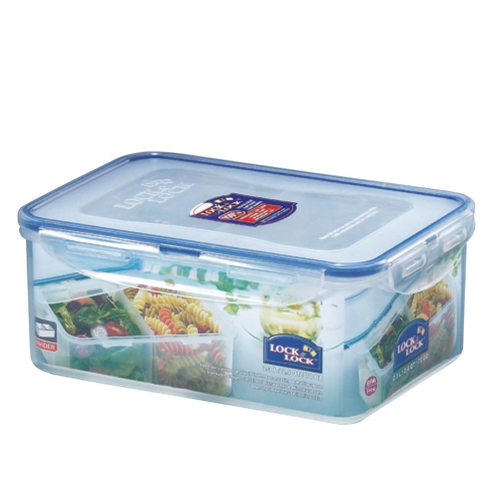 Lock & Lock Rectangular Food Container with Divider, Short, 9-1/2-Cup, 78-Fluid  - $19.79