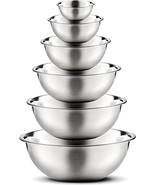 Premium Stainless Steel Mixing Bowls (Set of 6) Brushed Stainless Steel ... - $33.06