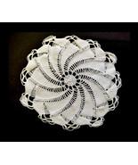 1950s Hand Crocheted Round Pinwheel Swirl Linen Doily Soft Cotton Textil... - $14.90