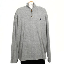 Polo Ralph Lauren Gray Cotton French Rib Half Zip Pullover Sweater Xxl - $67.99
