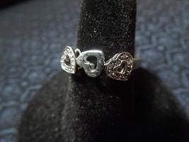 10K White Gold White Sapphire Past Present Future Heart Ring, 6 1/4, 1.7g - $62.36