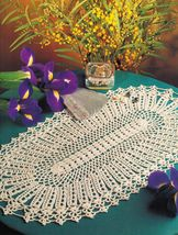 7X Ovalissimo Iris Oval Table Topper Mat Scrolls Palms Fan Doily Crochet... - $9.99