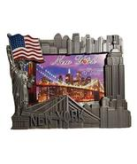 New York Souvenir Metal Picture Frame with USA Flag, Statue of Liberty, ... - $17.99