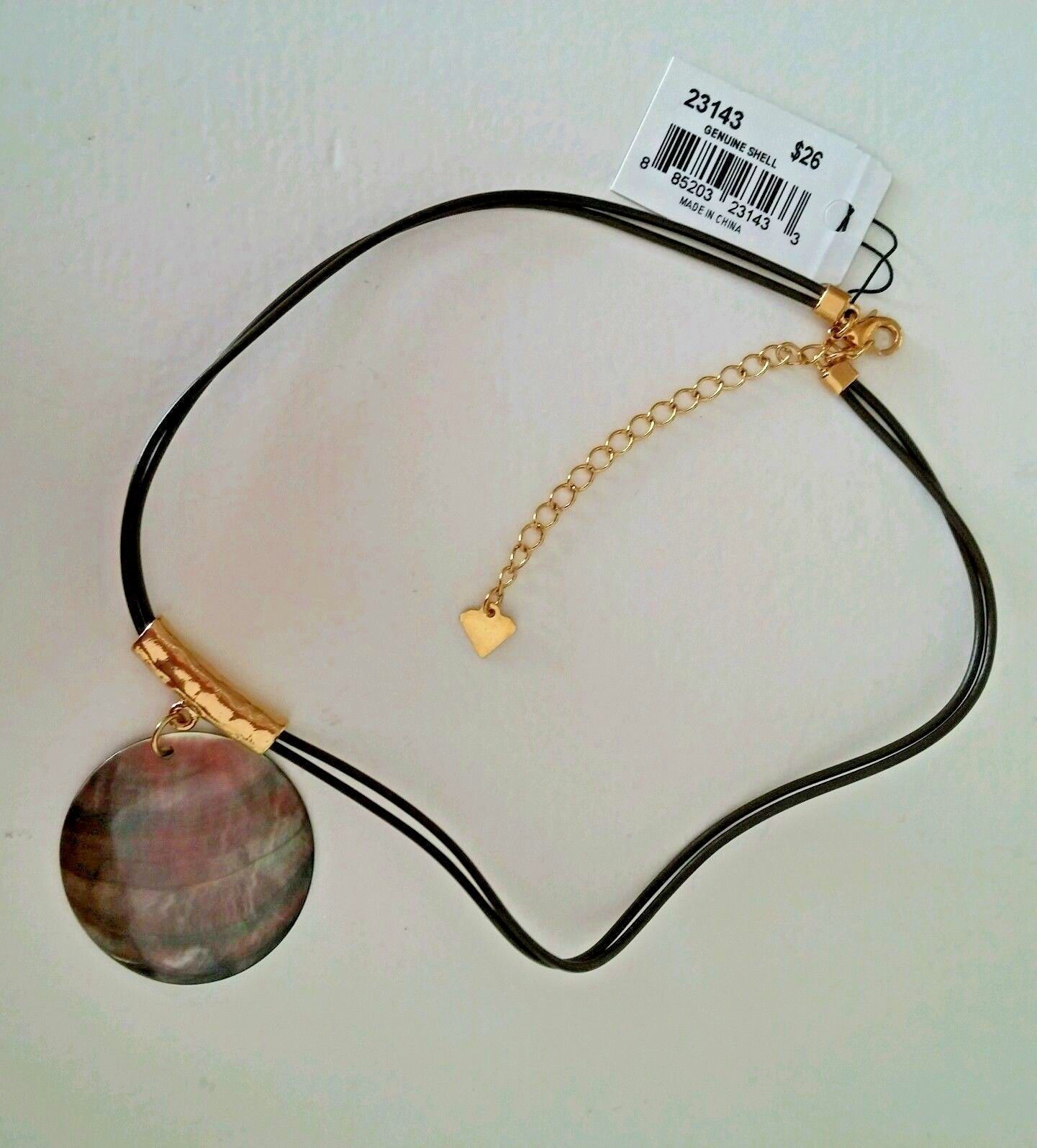 """Cookie Lee Necklace Genuine Shell Pendant Iridescent 18"""" Double Cord"""