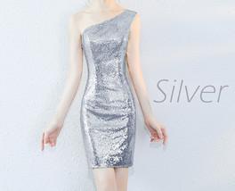 Rose Gold One Shoulder Short Sequin Dress Wedding Bridesmaid Short Sequin Dress image 11