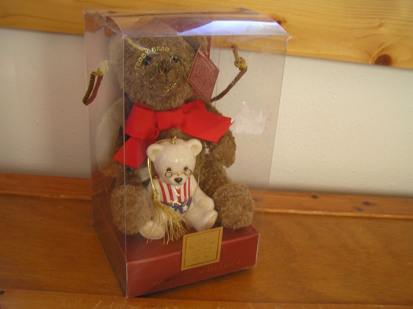 Lenox American Bears Teddy Bear 100th Anniversary Small Plush & China Tree Ornam