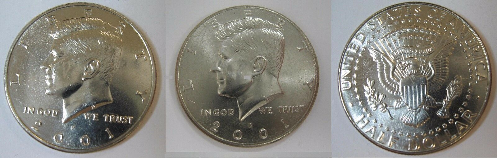 2001 P and D  BU Kennedy Half Dollar from US Mint Roll CP2429