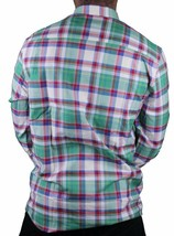 Wesc Vernon White Asparagus Green Blue Red Plaid Casual Button Up Down Shirt NWT image 2