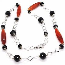 Necklace Silver 925, Agate Red, Onyx Black, Long 80 cm, Chain Squared image 3