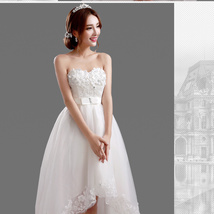 Elegant White High Low Wedding Dress Beach Bridal Gowns hand Made Flowers 2019 - $92.00