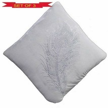 3X- Mor Pankh -Cushion Cover Off White-16x16 inch Approx For Christmas &... - $26.72