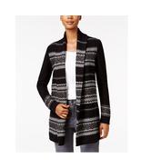 Style & Co Petite Jacquard Sweater Coat cozy Cardigan, Black Combo NWT PM - $16.32