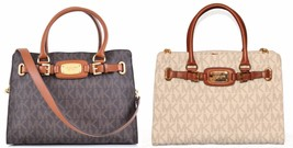 Michael kors Hamilton East West satchel Tote Logo Brown Vanilla NWT PICKONE - $159.00
