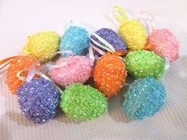 "Easter Pastel SPARKLE Eggs Egg 1.75"" Hanging Tree Ornaments Set of 12  - $11.99"