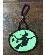 Up-Cycled Halloween Decoration-Cardboard-Flying Witch on Broom-Stars-Sku... - $7.00