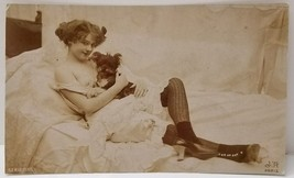 1910s French NUDE Bare Breast SEXY Innocent Woman & Puppy Orig JEAN AGEL... - $148.49