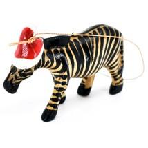Hand Carved & Painted Jacaranda Wood Santa Hat Zebra Safari Christmas Ornament image 2