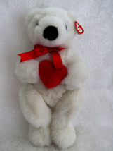 """TY 14"""" Plush White Valentine Romeo Bear with Red Heart w/Tags 1997 Excellent - $12.86"""