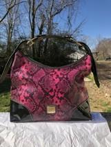 Dooney Bourke Nikki Shoulder Bag Pink Python Black Patent Leather purse tote - $250.00