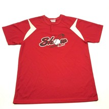 SHOW Baseball Jersey Size Extra Large 46-49 Adult Red Shirt Dry Fit Henl... - $22.58