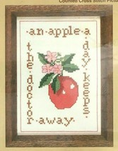 Vintage WonderArt Counted Cross Stitch Apple a Day Needlecraft Kit Home ... - $10.30