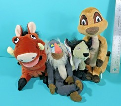 """Disney Store Lion King Bean Bag Plush Lot 8"""" Shenzi Hyena Rafiki Pumbaa ... - $44.95"""